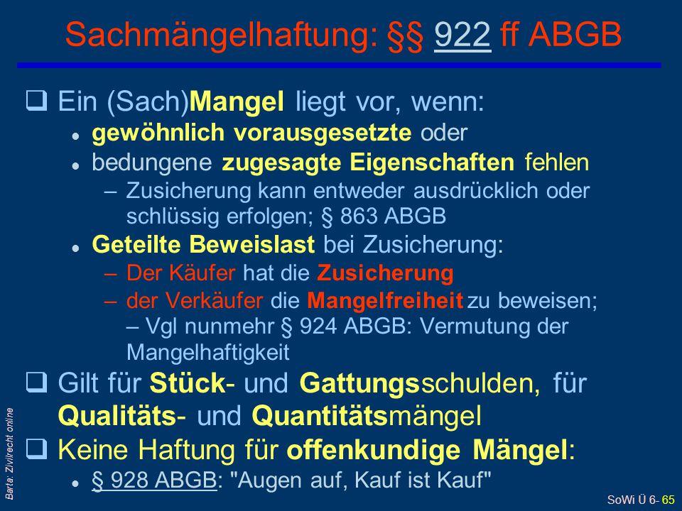 Sachmängelhaftung: §§ 922 ff ABGB