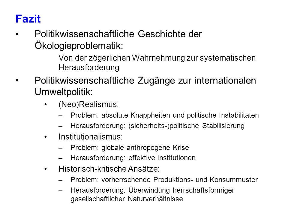 Fazit Politikwissenschaftliche Geschichte der Ökologieproblematik: