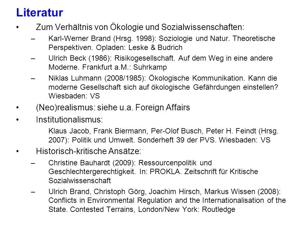 Literatur Zum Verhältnis von Ökologie und Sozialwissenschaften: