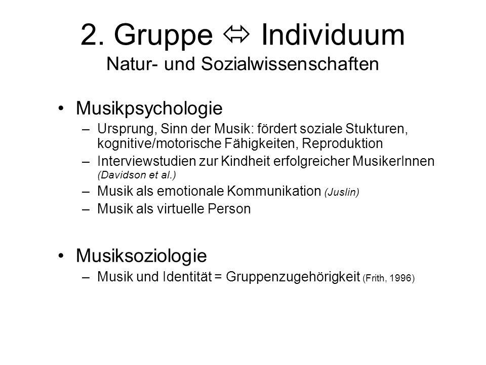 2. Gruppe  Individuum Natur- und Sozialwissenschaften
