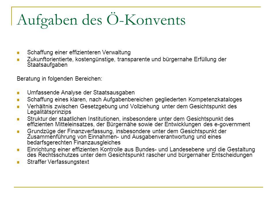 Aufgaben des Ö-Konvents