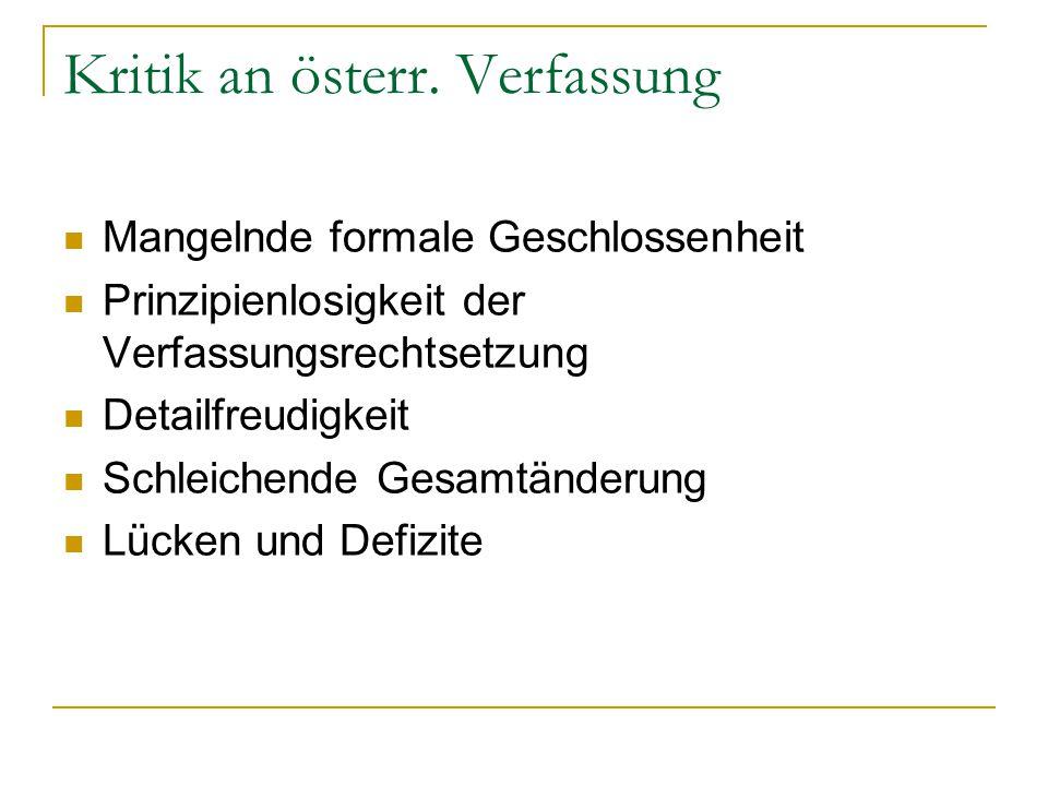 Kritik an österr. Verfassung
