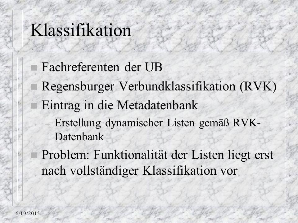 Klassifikation Fachreferenten der UB