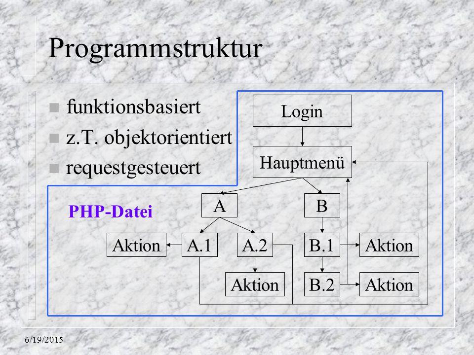 Programmstruktur funktionsbasiert z.T. objektorientiert