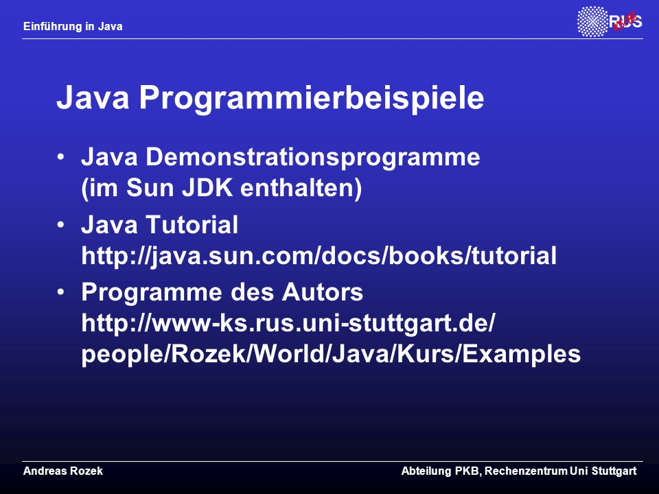 Java Programmierbeispiele