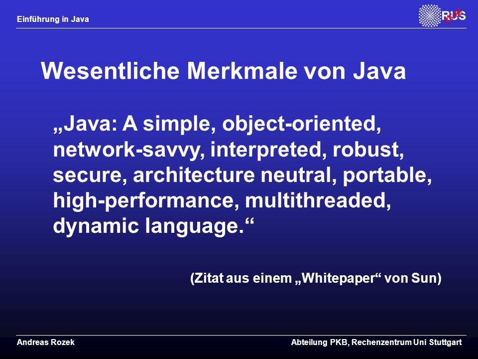 Wesentliche Merkmale von Java