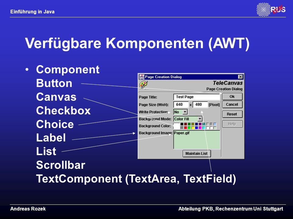 Verfügbare Komponenten (AWT)