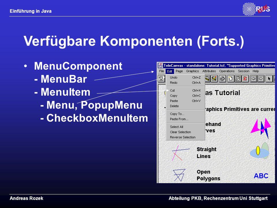 Verfügbare Komponenten (Forts.)