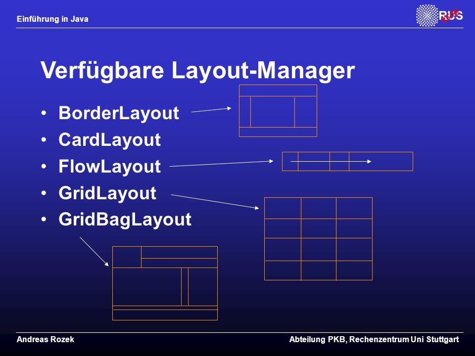 Verfügbare Layout-Manager