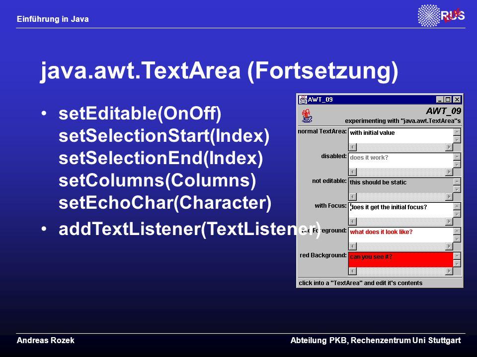 java.awt.TextArea (Fortsetzung)