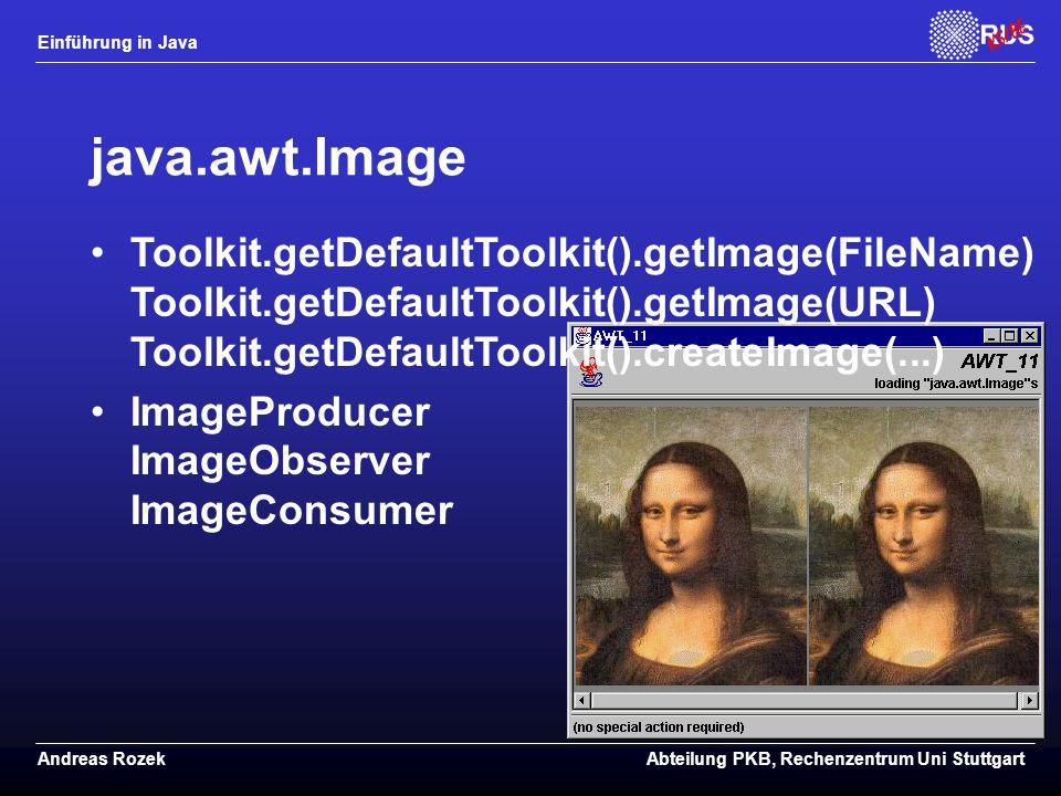 java.awt.Image Toolkit.getDefaultToolkit().getImage(FileName) Toolkit.getDefaultToolkit().getImage(URL) Toolkit.getDefaultToolkit().createImage(...)