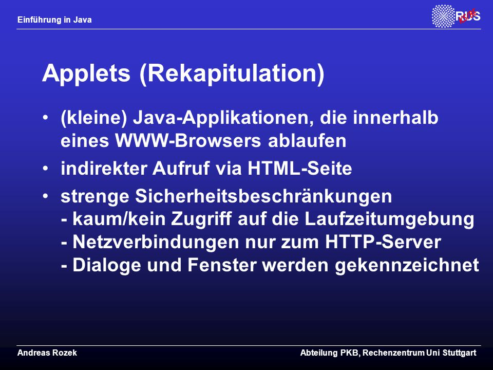 Applets (Rekapitulation)