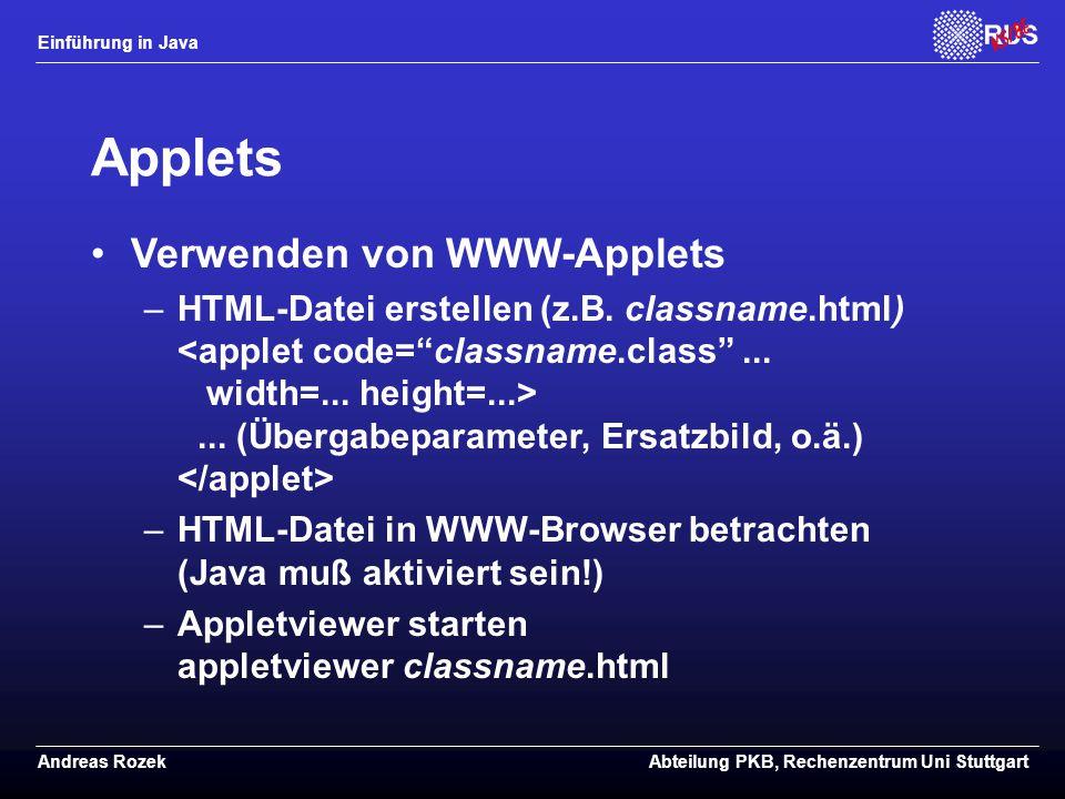 Applets Verwenden von WWW-Applets
