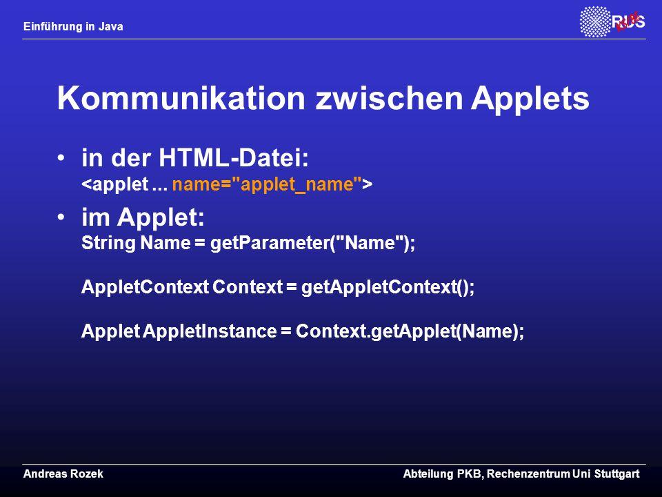Kommunikation zwischen Applets