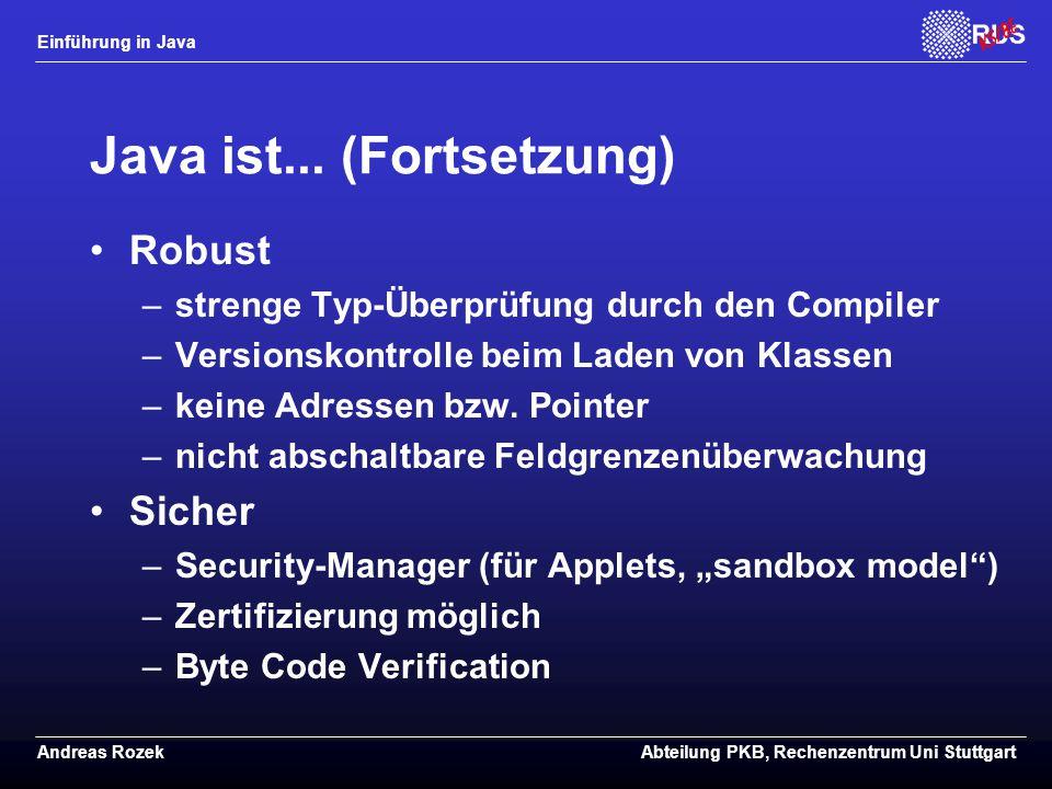 Java ist... (Fortsetzung)