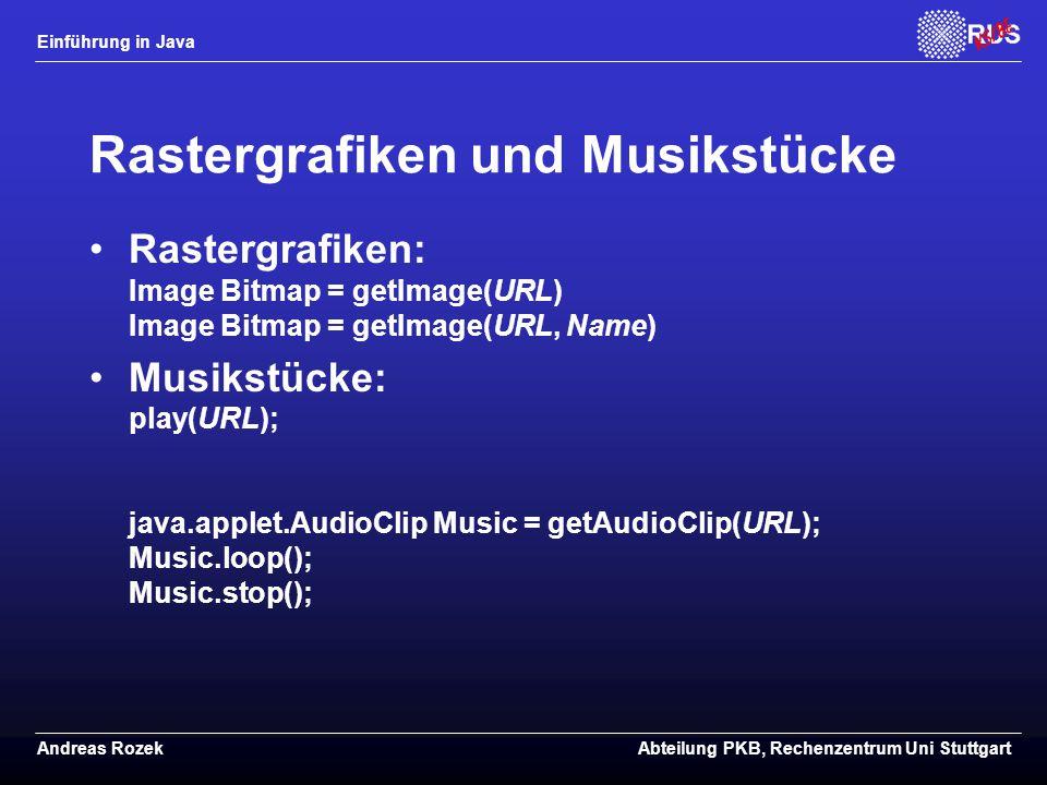 Rastergrafiken und Musikstücke