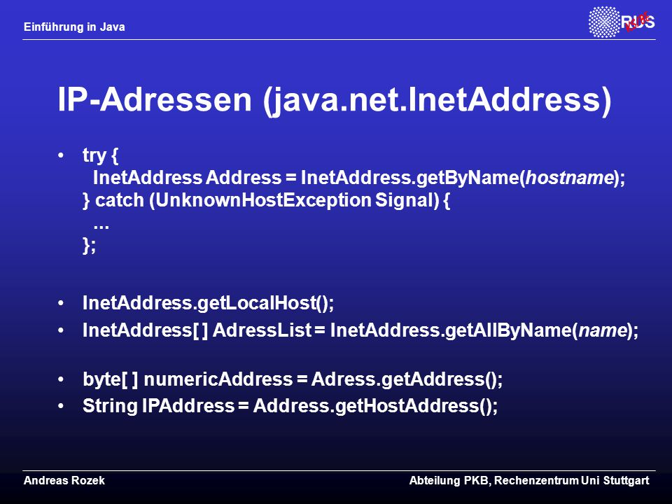 IP-Adressen (java.net.InetAddress)