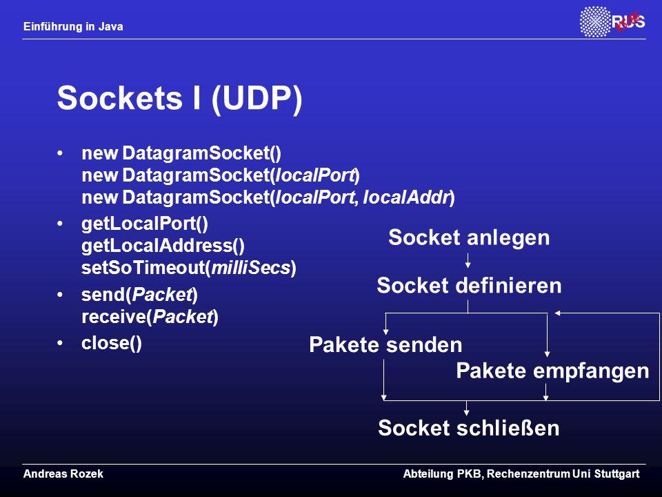 Sockets I (UDP) Socket anlegen Socket definieren Pakete senden