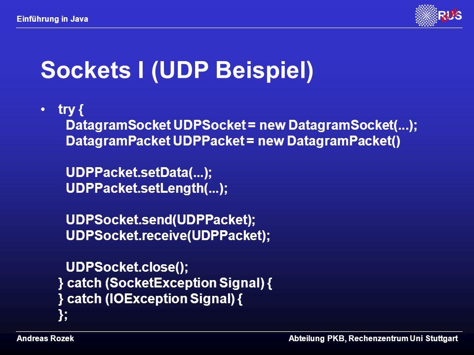 Sockets I (UDP Beispiel)