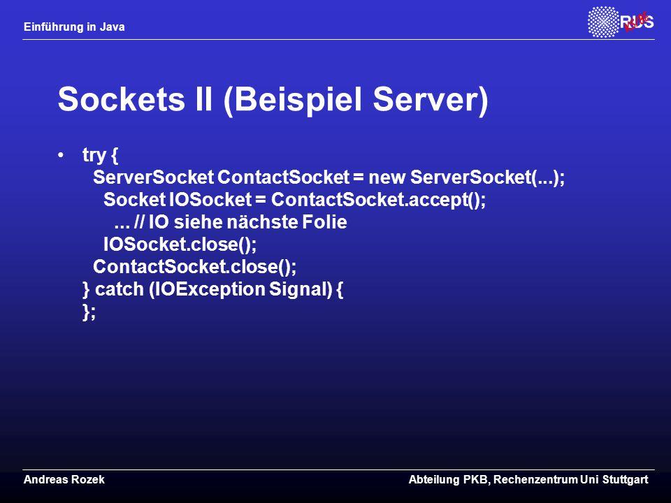 Sockets II (Beispiel Server)