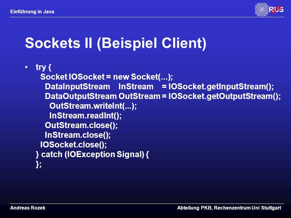 Sockets II (Beispiel Client)