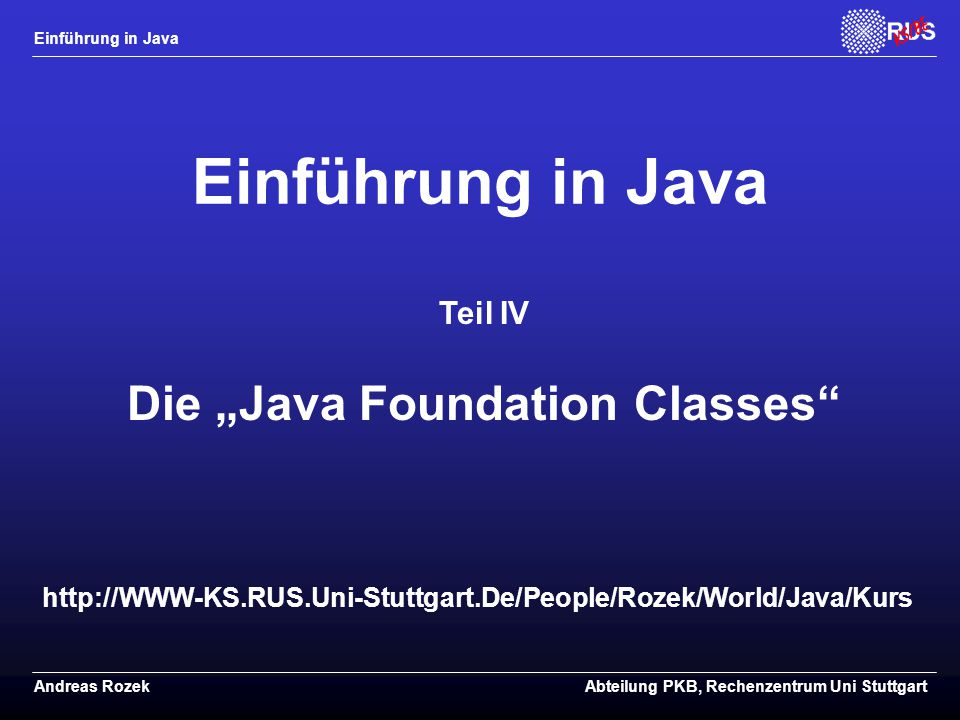 "Die ""Java Foundation Classes"