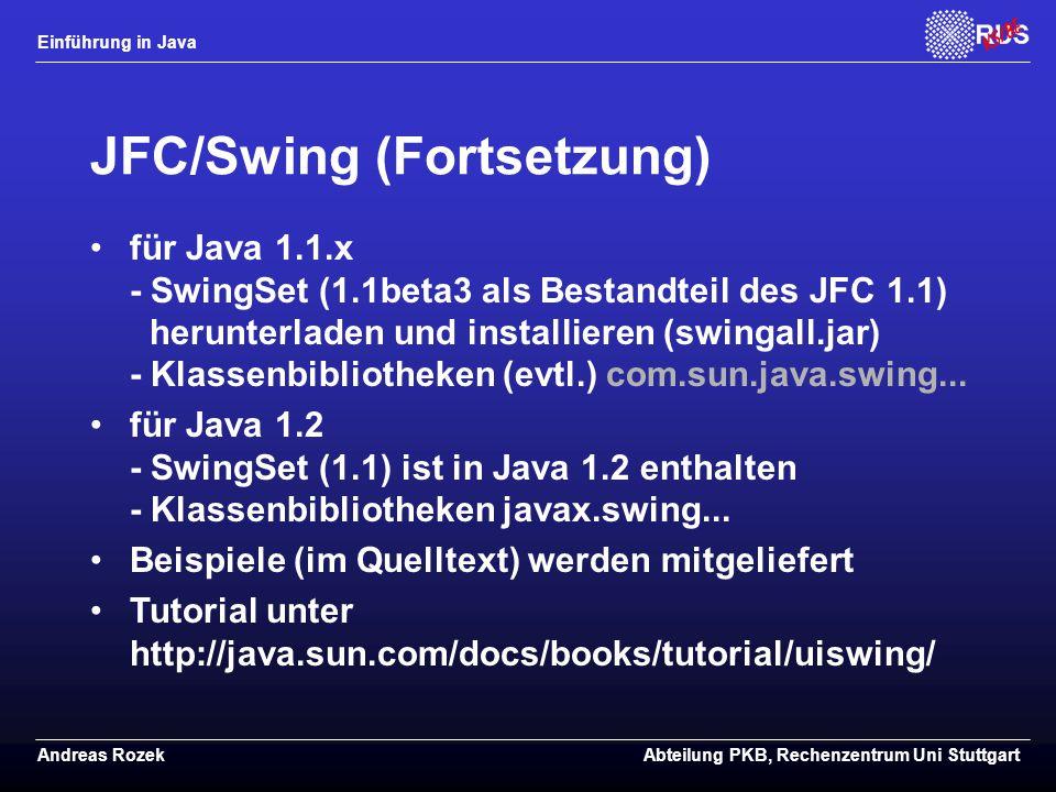 JFC/Swing (Fortsetzung)