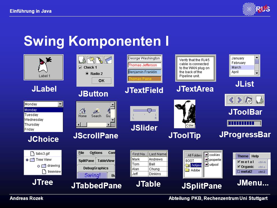 Swing Komponenten I JList JLabel JTextField JTextArea JButton JToolBar