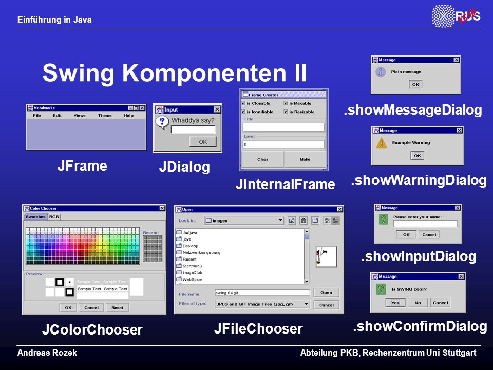 Swing Komponenten II .showMessageDialog JFrame JDialog