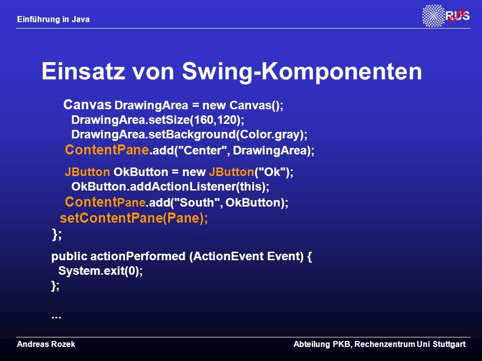 Einsatz von Swing-Komponenten