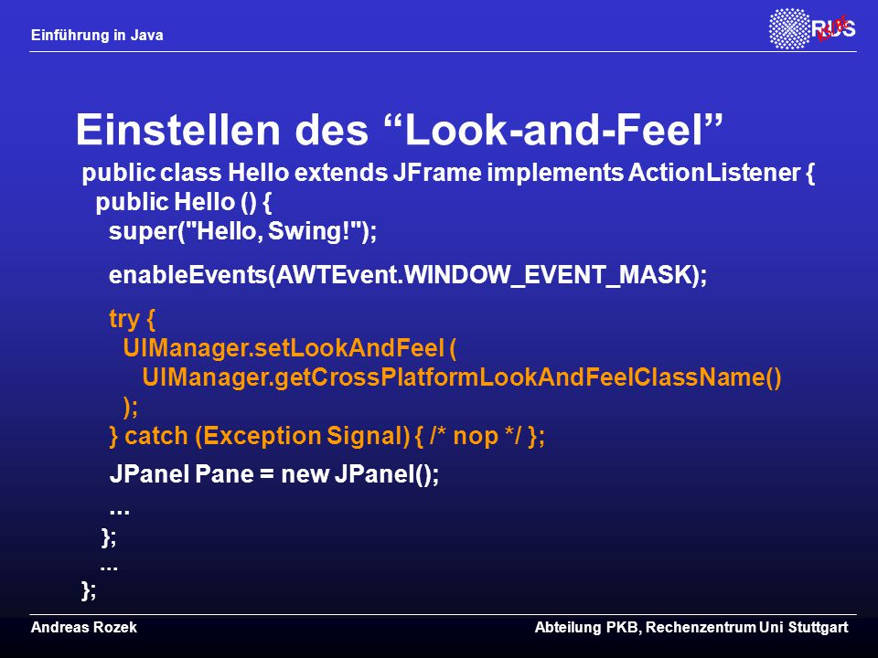 Einstellen des Look-and-Feel