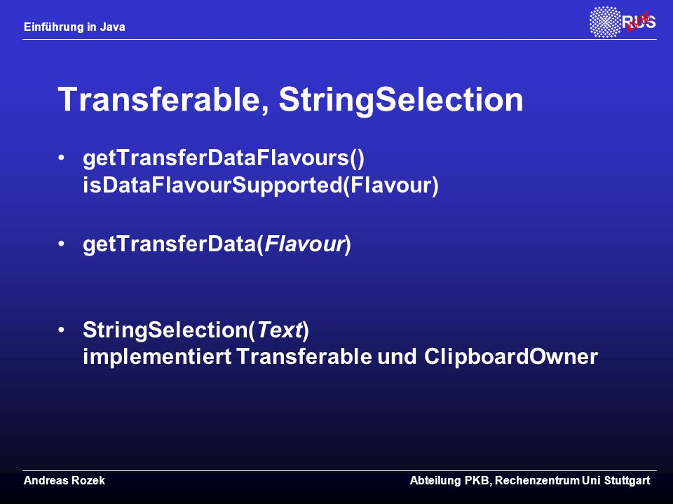 Transferable, StringSelection