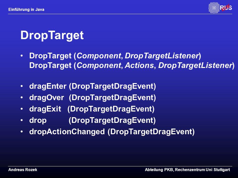 DropTarget DropTarget (Component, DropTargetListener) DropTarget (Component, Actions, DropTargetListener)