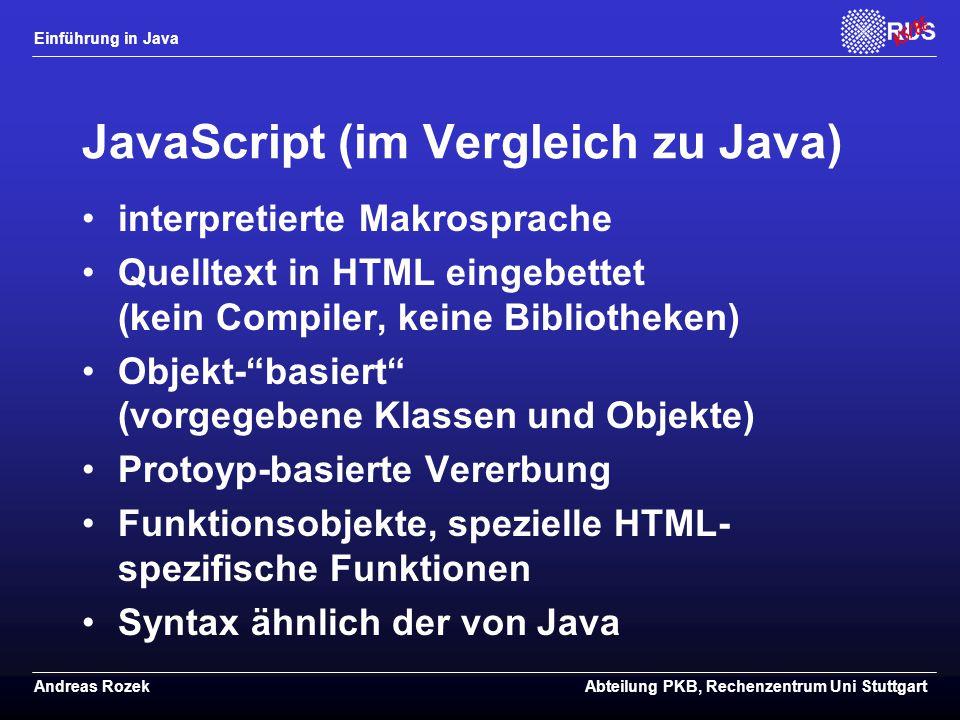 JavaScript (im Vergleich zu Java)