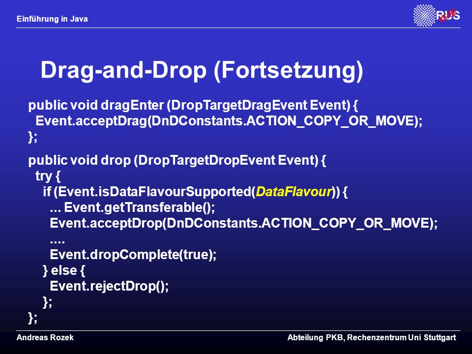 Drag-and-Drop (Fortsetzung)