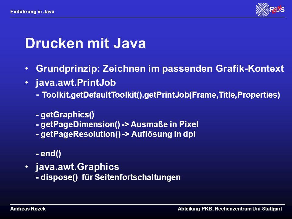 Drucken mit Java Grundprinzip: Zeichnen im passenden Grafik-Kontext