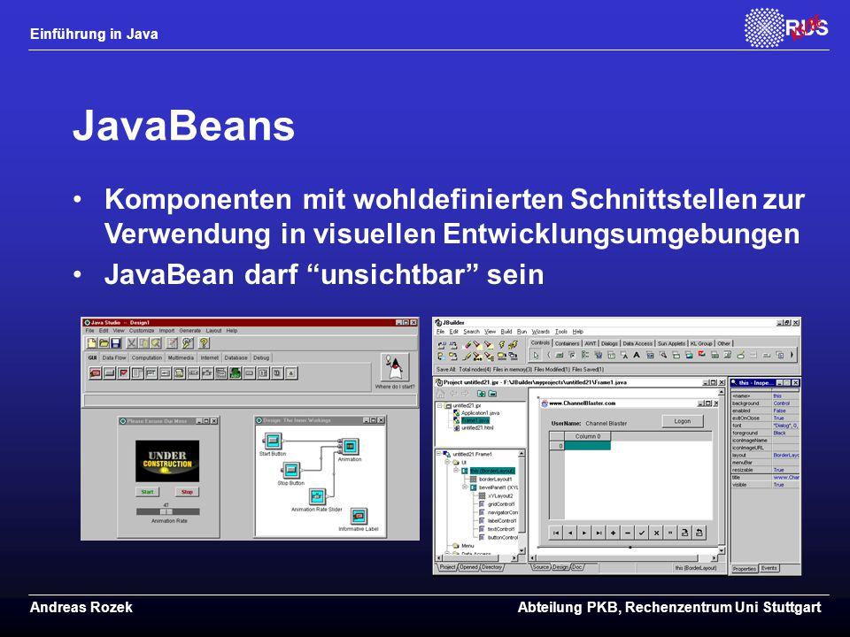 JavaBeans Komponenten mit wohldefinierten Schnittstellen zur Verwendung in visuellen Entwicklungsumgebungen.