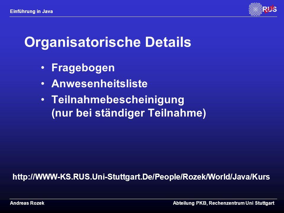 Organisatorische Details