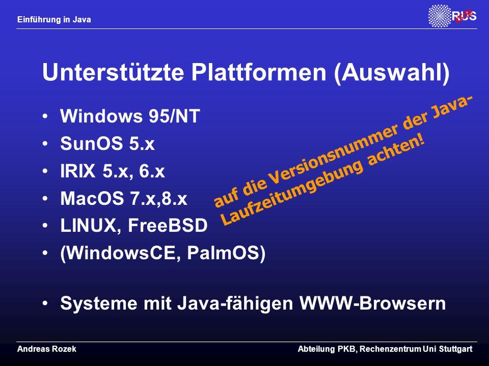 Unterstützte Plattformen (Auswahl)