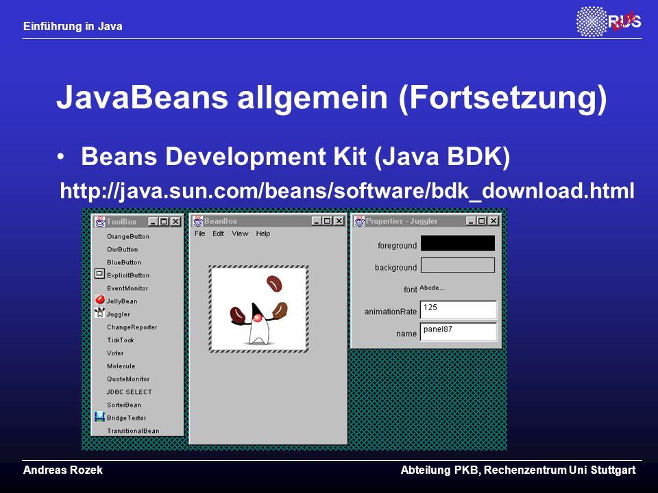 JavaBeans allgemein (Fortsetzung)