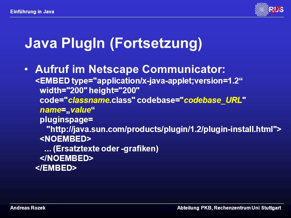 Java PlugIn (Fortsetzung)