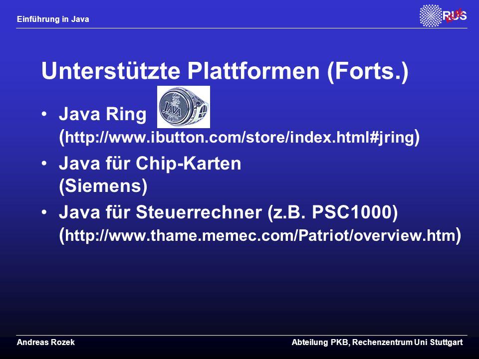 Unterstützte Plattformen (Forts.)