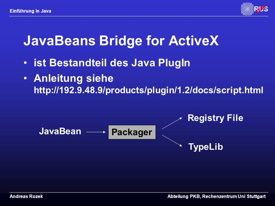 JavaBeans Bridge for ActiveX