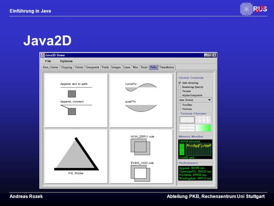Java2D Siehe http://www.javasoft.com/products/activator
