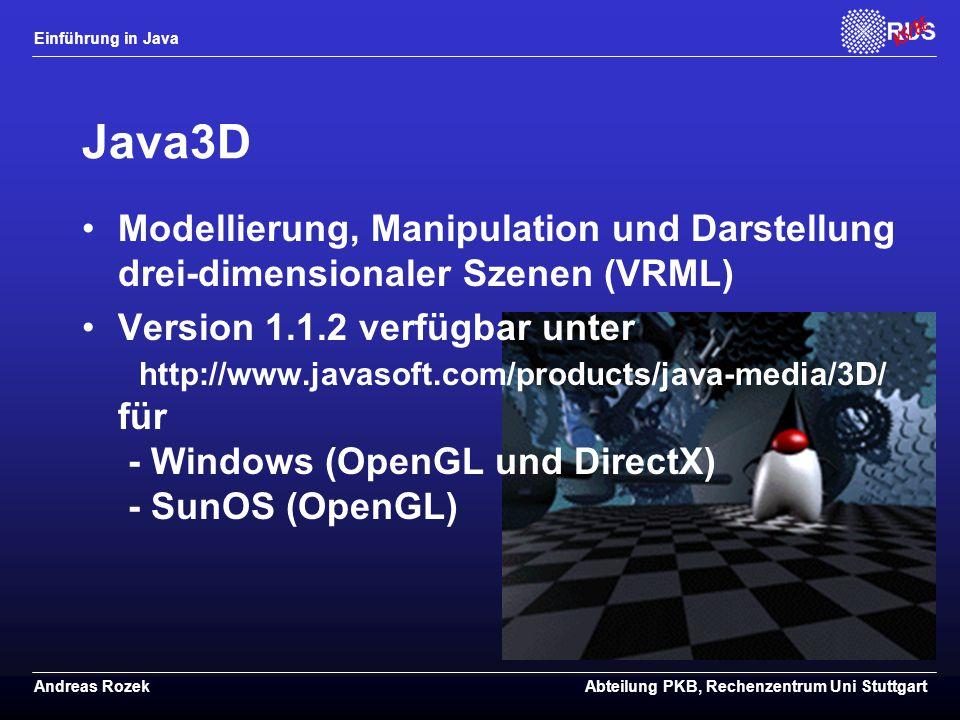 Java3D Modellierung, Manipulation und Darstellung drei-dimensionaler Szenen (VRML)