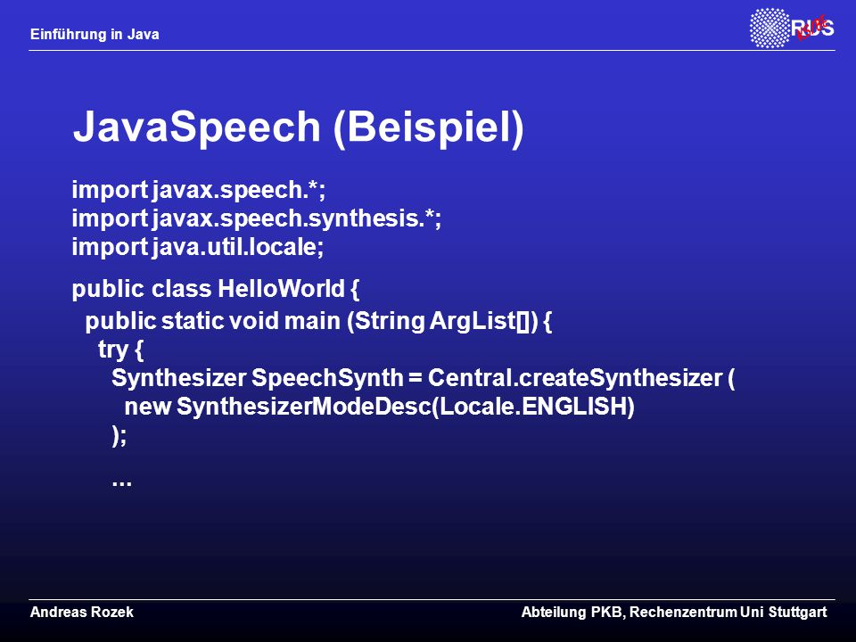 JavaSpeech (Beispiel)