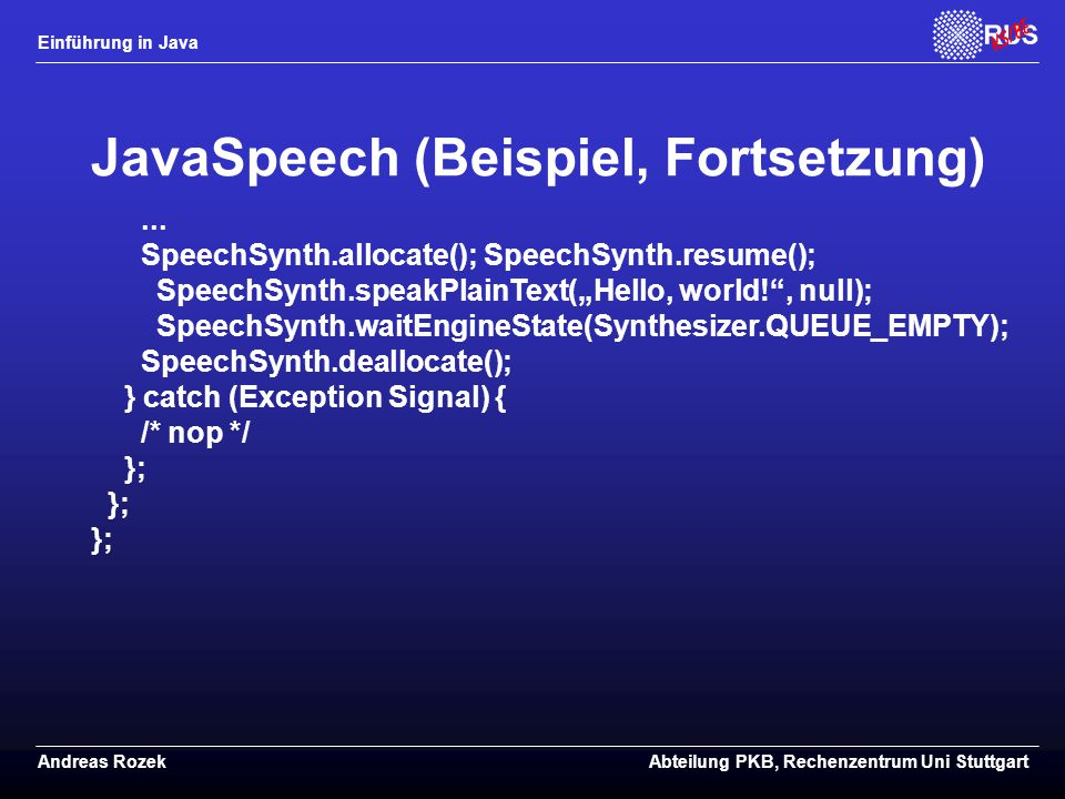JavaSpeech (Beispiel, Fortsetzung)