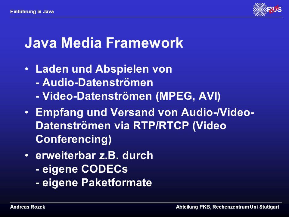 Java Media Framework Laden und Abspielen von - Audio-Datenströmen - Video-Datenströmen (MPEG, AVI)
