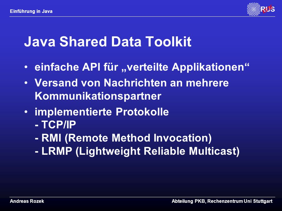 Java Shared Data Toolkit