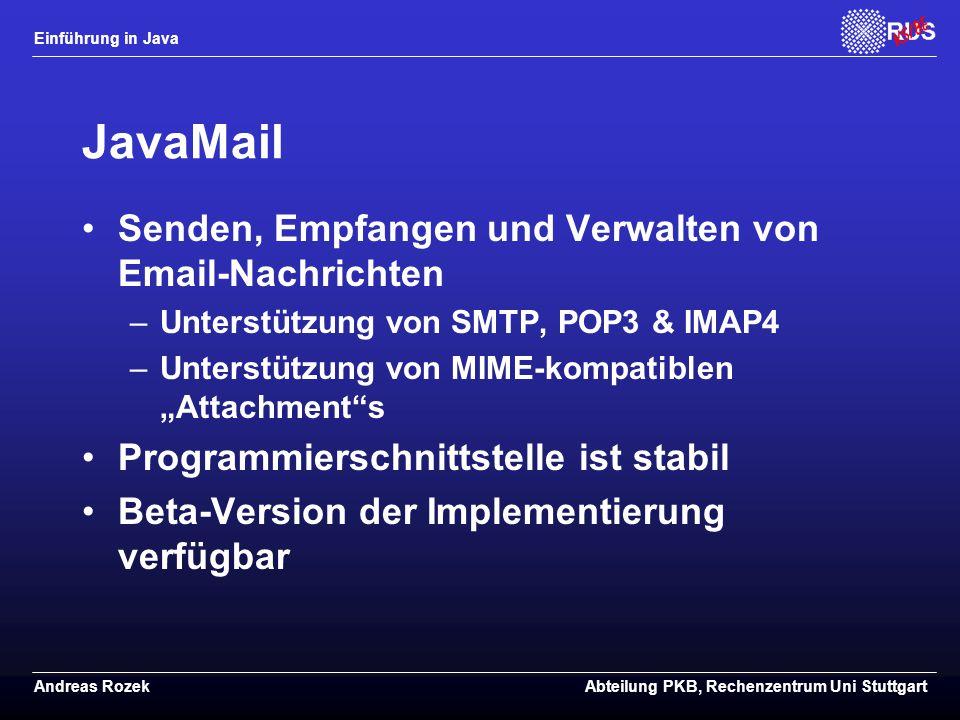 JavaMail Senden, Empfangen und Verwalten von Email-Nachrichten
